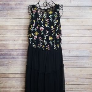 Lane Bryant 16 floral embroidered layered dress